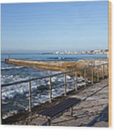 Pier And Promenade By The Atlantic Ocean In Cascais Wood Print
