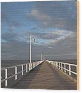 Pier And Shadows Wood Print