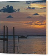 Pier At Buttonwood Sound Wood Print