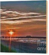Pier At Dawn 167 Wood Print