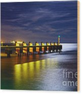 Pier At Night Wood Print by Carlos Caetano