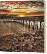 Pier At Smith Mountain Lake Wood Print