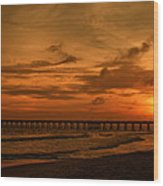 Pier At Sunset Wood Print by Sandy Keeton