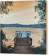 Pier At The Lake Wood Print