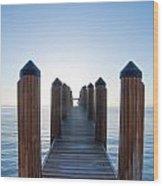Pier By Sea Wood Print