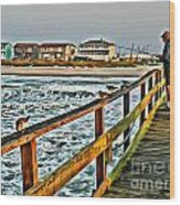 Pier Fishing 2 Wood Print