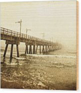 Pier In A Storm Wood Print