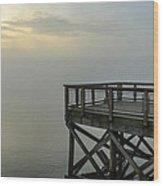 Pier In The Fog Wood Print