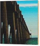 Pier Into The Horizon Wood Print