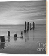Pier Into The Past Black And White Wood Print