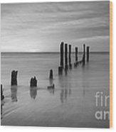 Pier Into The Past Bw 16x9 Wood Print