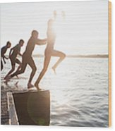 Pier Jumping Wood Print