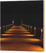 Pier Night Lights Wood Print
