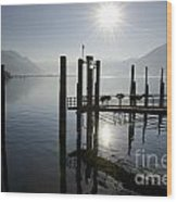 Pier On An Alpine Lake Wood Print