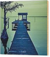 Pier On The Lake Wood Print