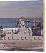 Pier Over An Ocean, Manhattan Beach Wood Print