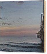Pier Panorama At Sunrise  Wood Print by Michael Thomas