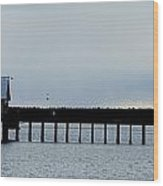 Pier Panorama Wood Print by Mamie Gunning