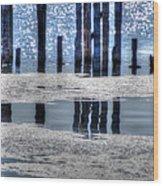 Pier Reflections Wood Print