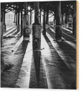 Pier Shadows Wood Print