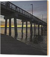 Pier Sunrise On A Cold January Morning Wood Print