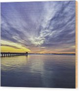 Pier Sunrise Wood Print by Vicki Jauron