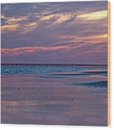 Pier Sunset Wood Print