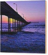 Pier Sunset Ocean Beach Wood Print
