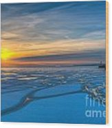 Pierhead Polar Vortex Sunrise Wood Print