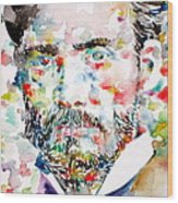 Pierre-auguste Renoir Watercolor Portrait Wood Print