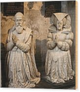 Pierre Jeannin And His Wife Sculpture Cathedral Autun Wood Print