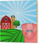 Pig On Green Pasture With Red Barn With Grain Silo  Wood Print by JPLDesigns