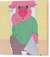 Pig On The Hopper Wood Print