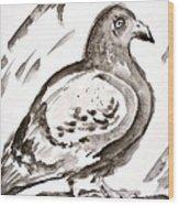 Pigeon I Sumi-e Style Wood Print