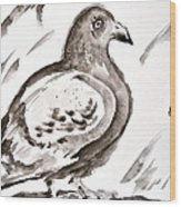 Pigeon II Sumi-e Style Wood Print