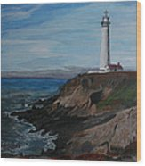 Pigeon Lighthouse Daytime Titrad Wood Print