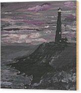 Pigeon Lighthouse Impasto Sunset Monochromatic Wood Print