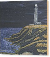 Pigeon Lighthouse Night Scumbling Complementary Colors Wood Print
