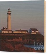 Pigeon Point Lighthouse At Sunset Wood Print