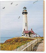 Pigeon Point Lighthouse Wood Print by Artist and Photographer Laura Wrede