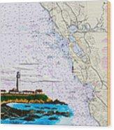 Pigeon Point Lighthouse On Noaa Nautical Chart Wood Print
