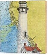 Pigeon Pt Lighthouse Ca Nautical Chart Map Art Wood Print