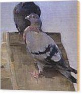 Pigeons On The Roof Wood Print