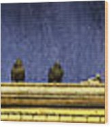 Pigeons On Yellow Roof Wood Print