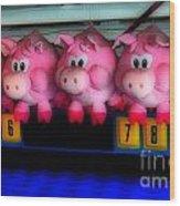 Piggy Race Wood Print