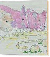 Pigs Cartoon Wood Print