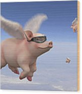 Pigs Fly 1 Wood Print by Mike McGlothlen
