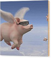Pigs Fly Wood Print