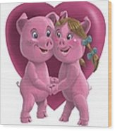 Pigs In Love Wood Print