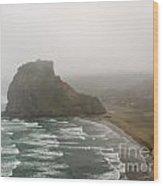Piha In Nz Surf On South Piha Beach And Lion Rock Wood Print